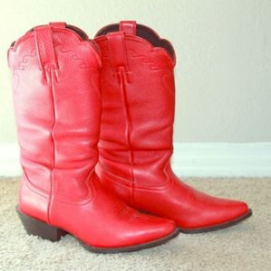 Red hot leather cowboy boots. 🔥